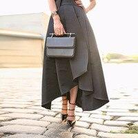 Nueva Llegada de la Alta Baja Faldas Para Mujer de Cintura Alta Negro Asimétrico Faldas Falda Plisada Faldas Banquete de Boda Personalizada Personalizado