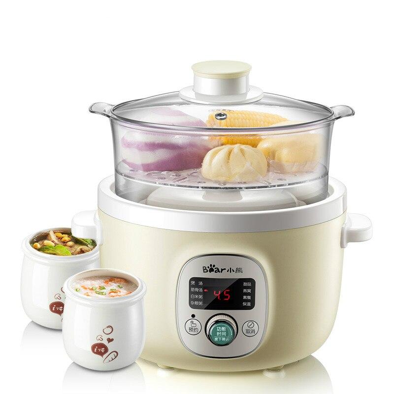 En céramique cuiseur vapeur électrique Multi-fonction cuiseur vapeur électrique Santé Cocotte Électrique Soupe Bouillie entièrement automatique Couvercle En Verre