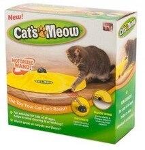 Кошки мяукают как видно по телевизору желтый тайные ткань перемещение мыши кота играть кошки игрушка