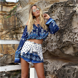 Bella Philosophy summer beach style ethnic floral print off shoulder slash neck long sleeve shirt blouse+ pants short set 7