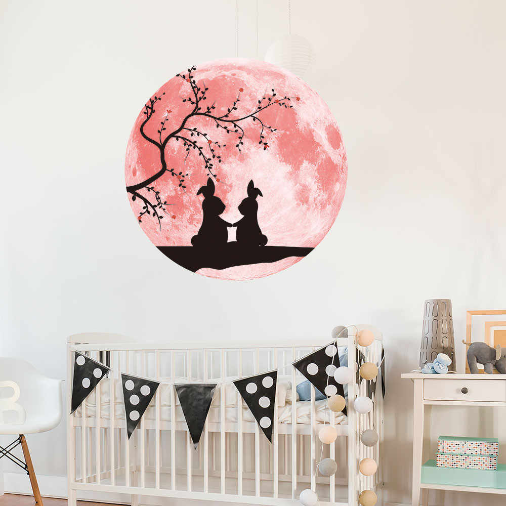 Розовая любовь светящаяся Луна Съемная Наклейка на стену домашнее свадебное украшение 30 см розовая любовь лунный свет Наклейка на стену s A30311