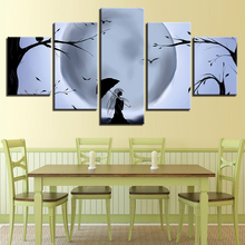 Black And White Poster Wall Decor Picture Print 5 Pieces Moon Tree Bird Umbrella Girl Night View Canvas Painting Modular Art