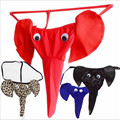 1PCS Novelty Elephant Thong Men G-String Briefs Funny Sexy Leopard/Black/Red Penis T-back Gay Wear Thongs Free Shipping YH