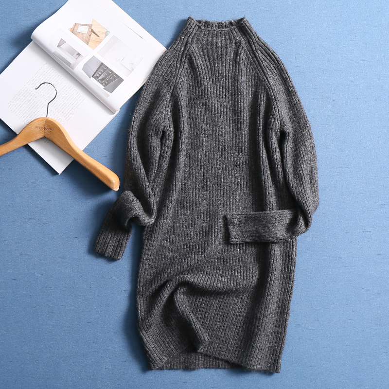 BIAORUINA Women High Street Long Knitted Sweater Turtleneck Female Fashion Warm Stretching Pullovers Casual All-match Sweaters sweater