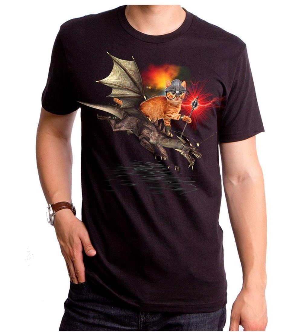 Summer 2018 Famous Brand New Cat riding Dragon Rider of Purr with Staff T-shirt S M L XL 2XL Top Black T-Shirt T shirt Mens Shi