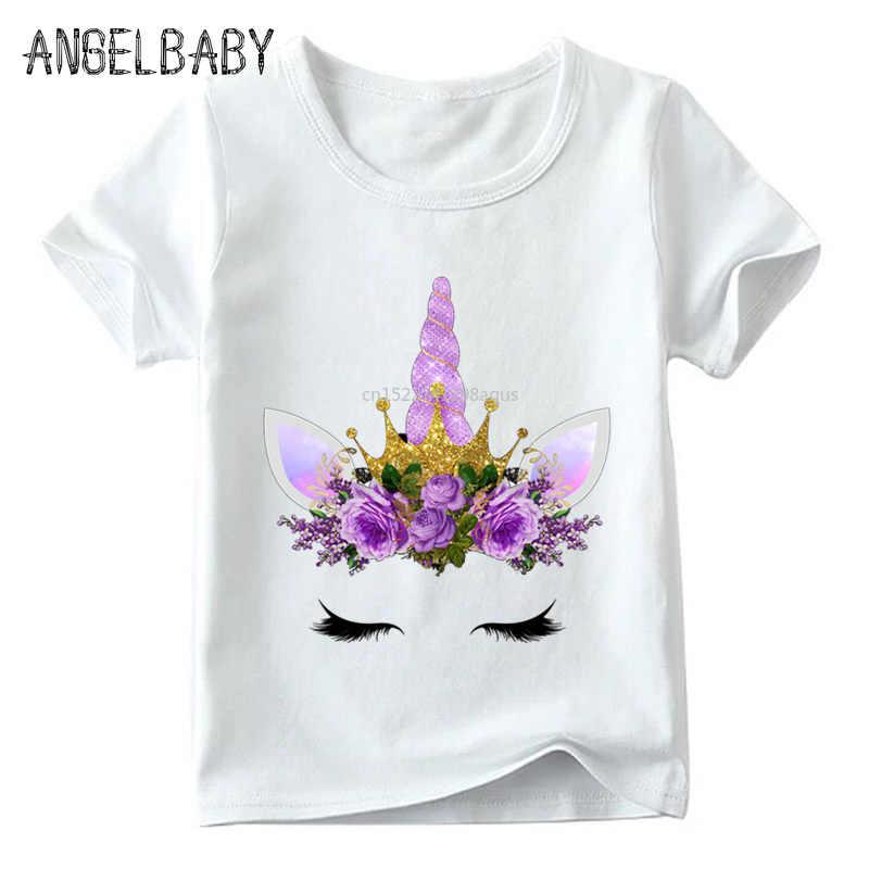 d7050e183 Niños lindo flor unicornio cara Harajuku T camisa verano bebé niños niñas  de dibujos animados