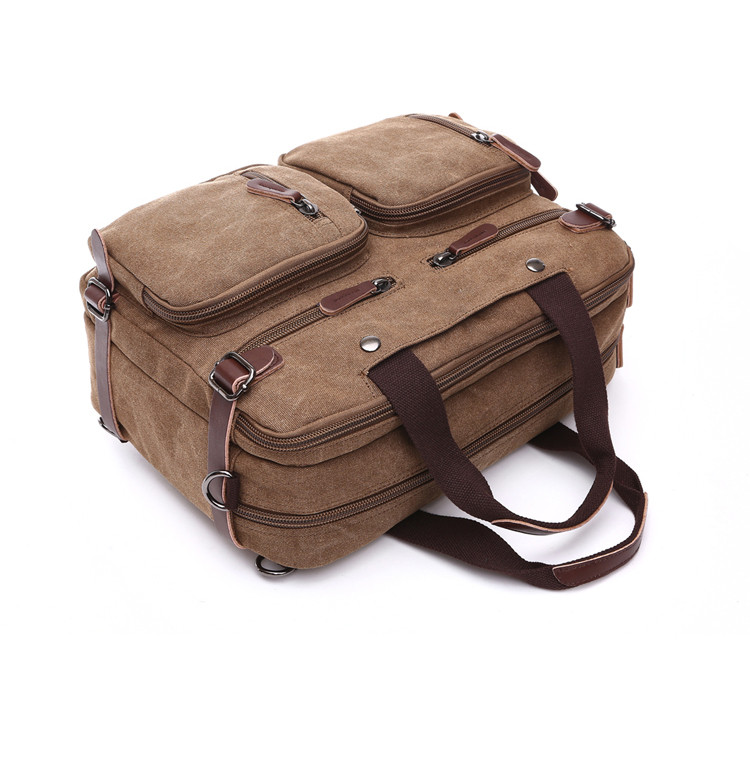 laptop bag brown in an upside-down position with two front pockets