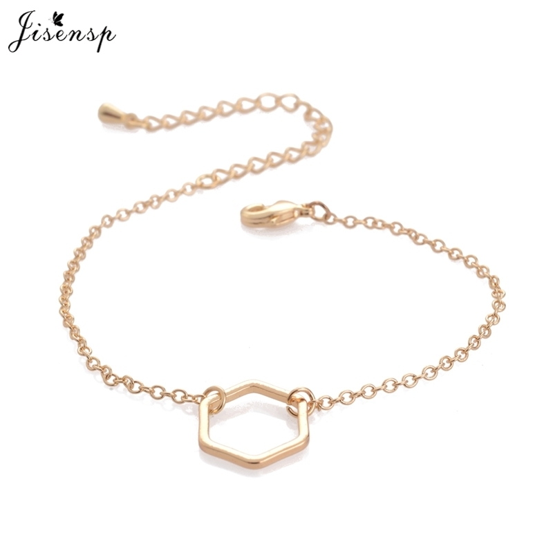 Jisensp Simple Hollow Line Hexagon Bracelet Cut Out Open Sexangle Bracelets Geometric Jewelry for Women B030