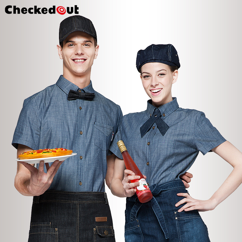 Hot Checked out waiter waitress shirt work uniforms summer short-sleeve high quality wor ...