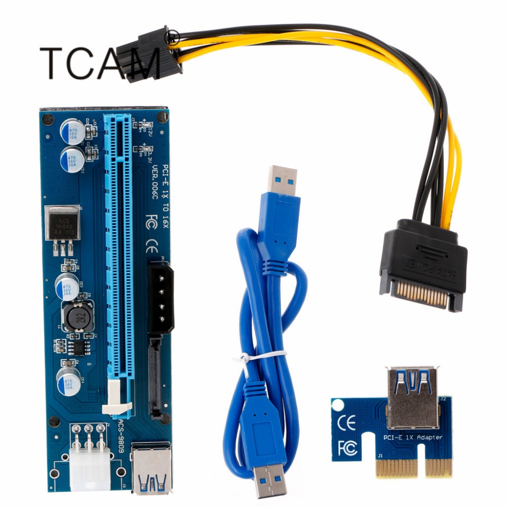 Computer & Office Loyal Pci-e 1x To 16x Riser Card With Led Lights Usb3.0 Cable Sata 4/6pin Power Supply