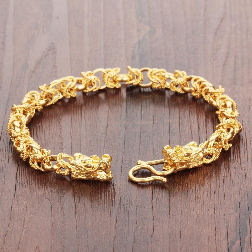 OPK Charm Gold Color Man Bracelets Vintage Dragon Head Style Chain ...