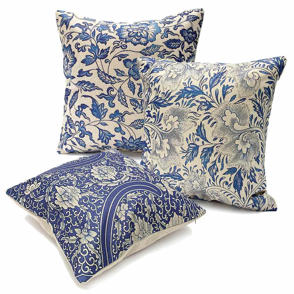 Cotton Linen Pillow Case Blue And White Porcelain Cover