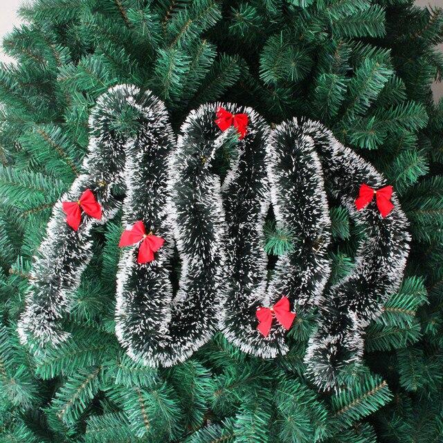 Christmas Tree Wall Decoration Dark Green Tops White Edge Ribbon Garland New Year Enfeites De Natal Noel Christmas 200cm*9cm