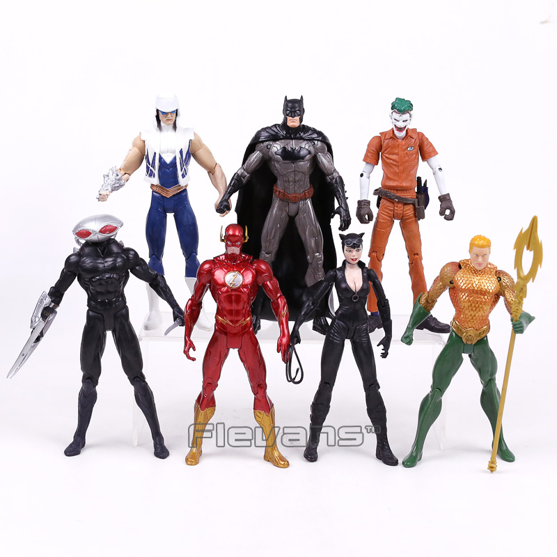 DC COMICS Batman Joker The Flash Catwoman Aquaman Captain Cold Black Manta PVC Action Figures Collectible Model Toys 7pcs/set