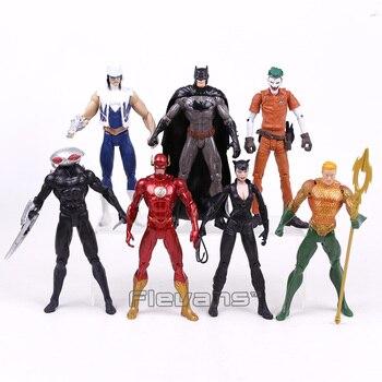 DC COMICS Batman Joker The Flash Catwoman Aquaman Captain Cold Black Manta PVC Action Figures Collectible Model Toys 7pcsset predator concrete jungle figure