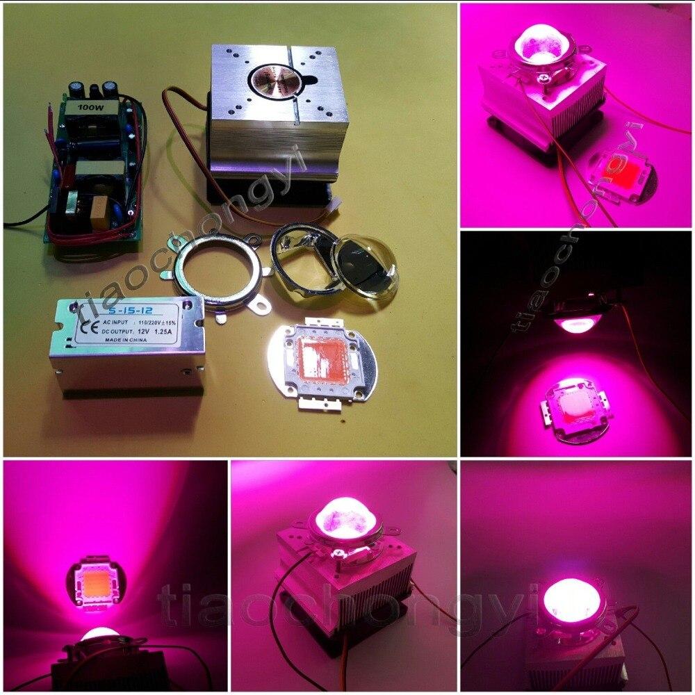 100 w diy levou crescer luz kit de 380 840nm chip driver dissipador de calor 60