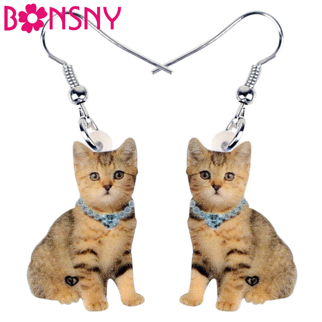 Bonsny Acrylic Cute Orange Stripe Cat Earrings Dangle Drop Unique Jewelry For Women Girls Pet Lovers Charms Lots Gift Decoration