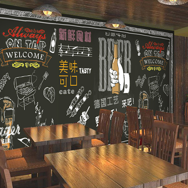 Custom Wall Mural 3D Beef Steak Barbecue Restaurant Hot Pot Coffee House Tea Shop Dining Room Wood Mural Wallpaper