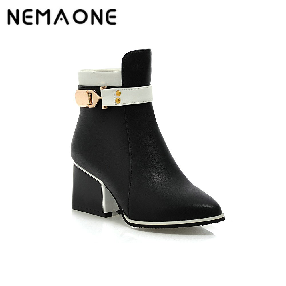 NEMAONE 2017 women british style poined toe ankle boots Vintage spring autumn women Boots thick high Heels boots Shoes woman xiaying smile woman pumps shoes women spring autumn wedges heels british style classics round toe lace up thick sole women shoes