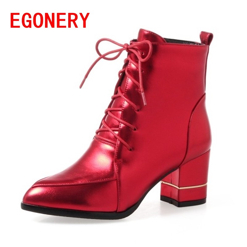 egonery ankle boots for ladies high heel pointed toe laced up side zipper booties 3 color shoes woman black red shoes winter 2017 autumn winter new womens leather ankle boots ladies black short boots round toe high block heel zip up booties size