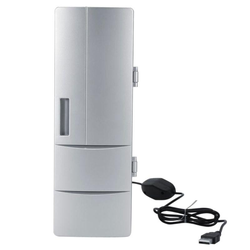 1PCS ABS Silver Portable Mini Laptop Fridge PC Refrigerator Drink Medicine Cold & Warm Box Beer Cooler