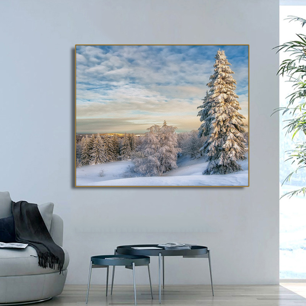 Snow Scene Pine Forest Winter Wall Art Canvas Painting Calligraphy Poster Print Decorative Picture for Living Room Home Decor in Painting Calligraphy from Home Garden