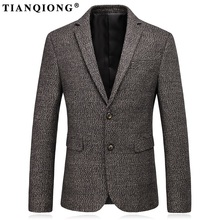 TIAN QIONG Men Wool Blazer Designs 2017 New Arrival Blazer Masculino Slim Fit Korean Fashion Business Formal Casual Suit Jacket(China)