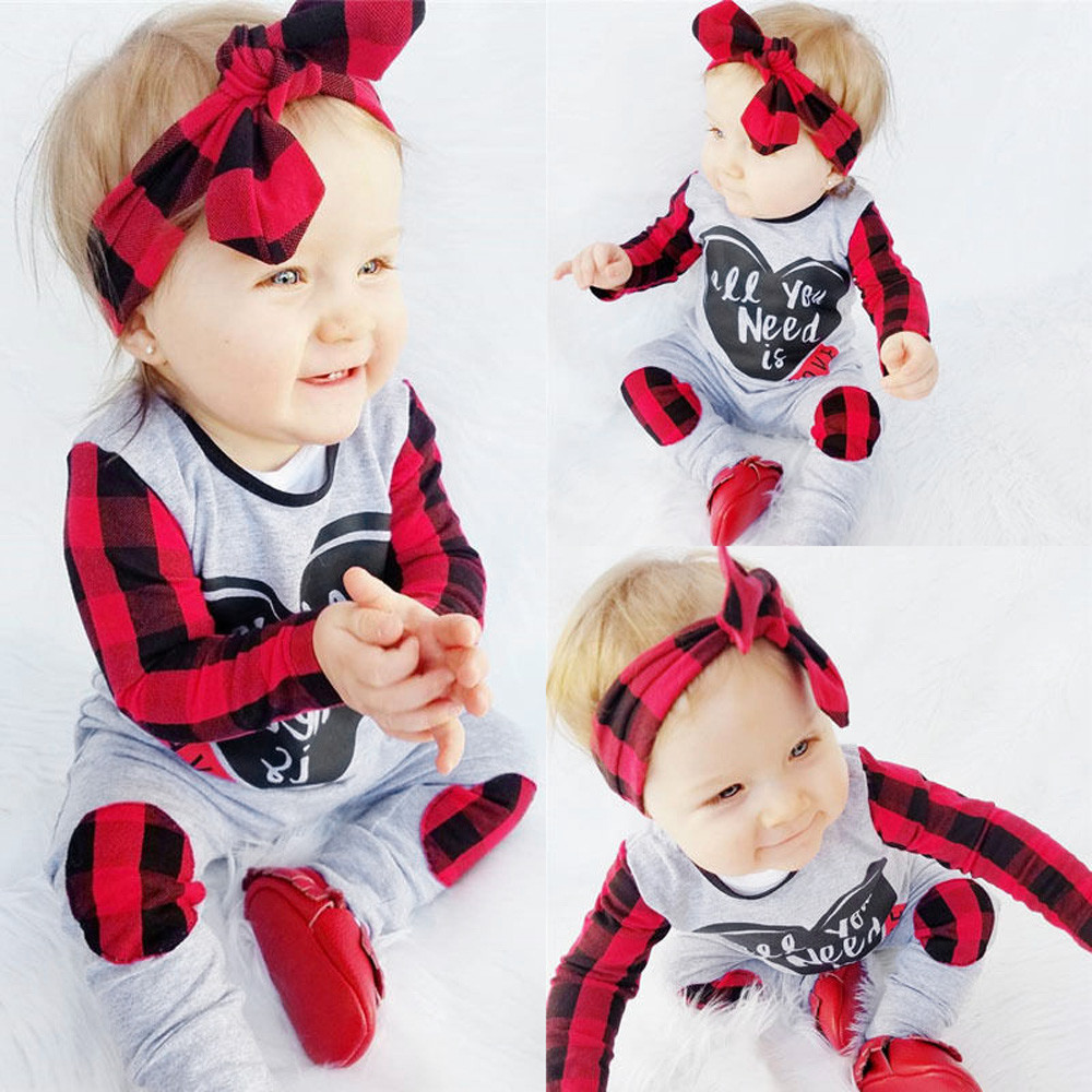 2019 Red Plaid Newborn Baby Boy Girl Clothes Long Sleeve Heart Print Romper Jumpsuit+Headband 2PCS Playsuit Kids Clothing 0-24M