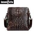 JASON TUTU Real 100% Genuine Oil Wax Upper Cowhide Crocodile Handbags Male Crazy Horse Leather Messenger Bags Shoulder Bag HN35