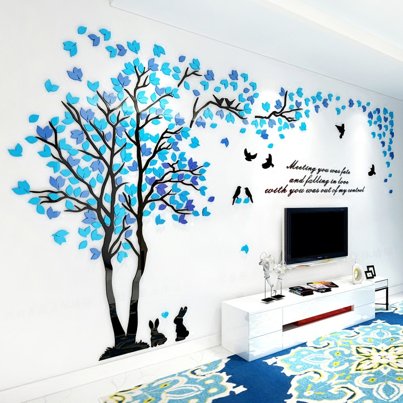 creative colored leave rabbit tree 3d wall stickers living room sofa