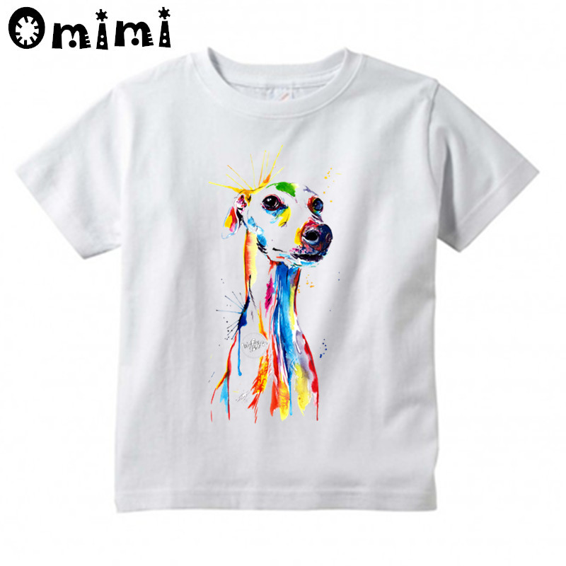 Kids Greyhound Dog Animal Pet Design T Shirt Boys and Girls Great Casual Short Sleeve Tops Childrens Funny T-Shirt