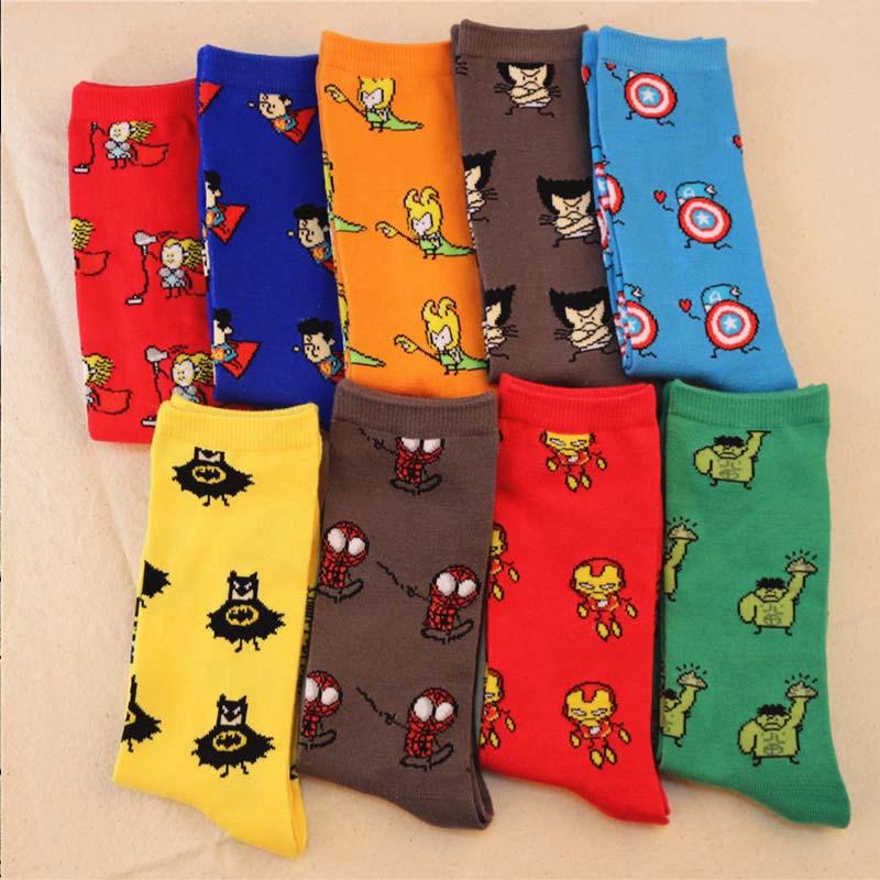 Marvel Comics Avenger Captain America Cartoon   Socks   Batman Superman Iron Man Hulk   socks   Men Future Cotton Men Funny   Socks   SA-8