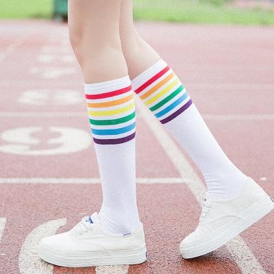 Two pairs of autumn winter socks women rainbow color hosiery cotton medium-long socks