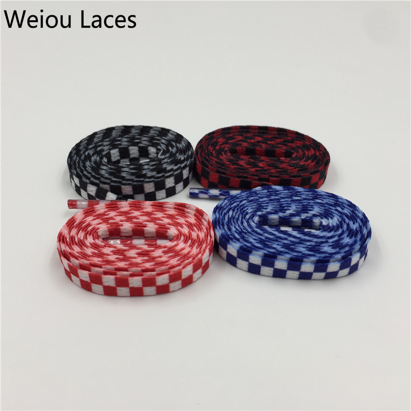 (30 pairs/Lot)Weiou Polyester Plaid Flat shoestring heat transfer Shoelaces custom printed Fashion laces for Clothes Shoes Drop weiou 100pcs lot 3 8x22mm clothes lace painting purple shoelace metal tips matt diy replacement custom aglets shoe laces ends