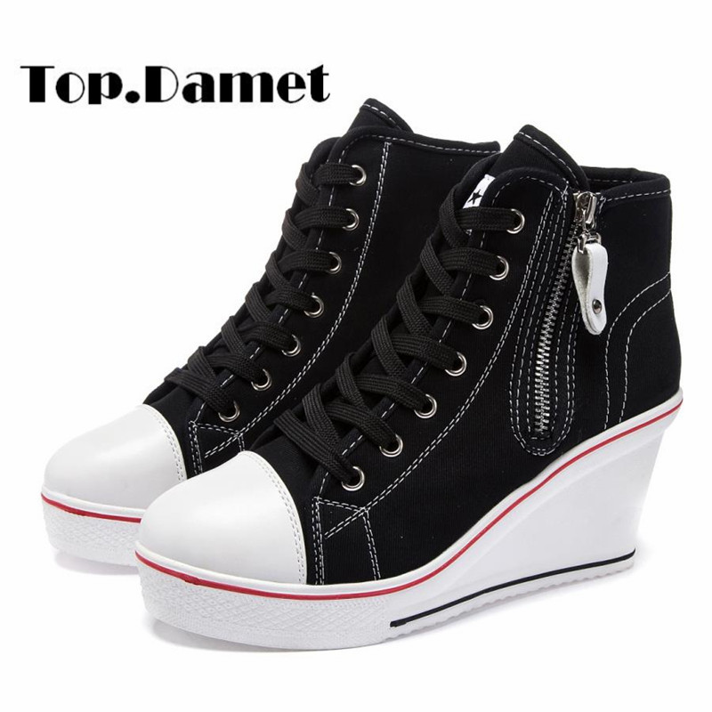 Top.Damet Women Sneakers Fashion Casual High Wedge Heel Plartform Solid Color High Top Lace Up Breathable Canvas Shoes Plus Size