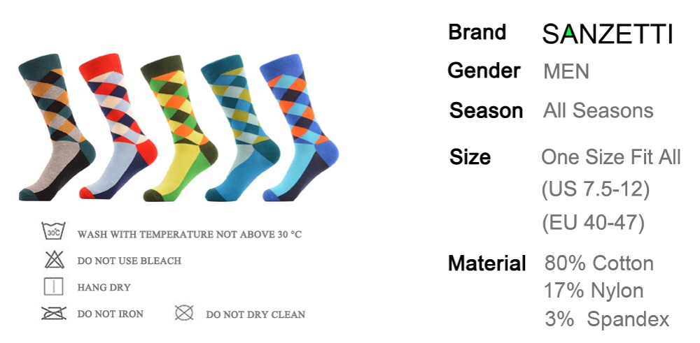 Happy Socks by SANZETTI 5 pari/pak Man Diamond Colorful Funny Sock Spring  Autumn Socks grid Socks MEN Mixed color In the summer