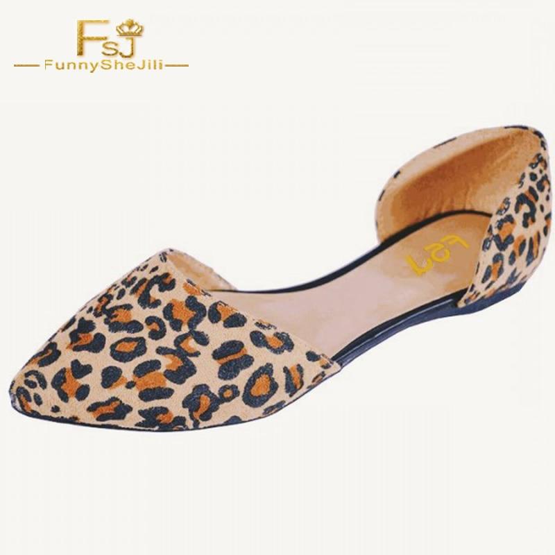 Imprimé Taille Peu Appartements Léopard D'orsay Fsj01 Fsj Femme Double Falts Élégant Profonde Pointu Sur Slip Grande Troupeau 14 Chaussures Bout vvrCqwO