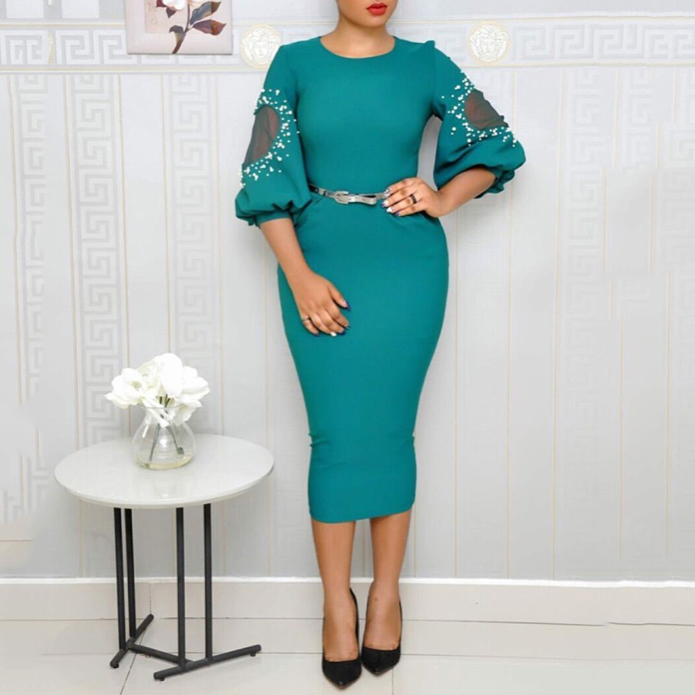 e05437a9e6 Detail Feedback Questions about Women's Puff Sleeves Stitching Split Bodycon  Dress Pearl See through Sexy Square Neck Belt midi Party Dress on ...