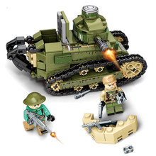 New senbo steel empire series 101269 Renault ft-17 tank boy put small particles puzzle diy building blocks toys gifts legoings(China)