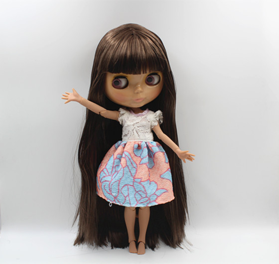 Blygirl Blyth doll Brown bangs straight hair naked doll Tan skin joint body 19 joint DIY doll can change makeup free shipping blyth doll nude dolls colorful bangs hairy multi joint body 19 joint joints can be rotated to send hand group
