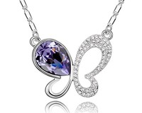 Purple Butterfly Pendant Necklace Austria Crystal Vintage Choker Jewelry Gifts For Women Jewellery Accessories Wholesale NXL0012