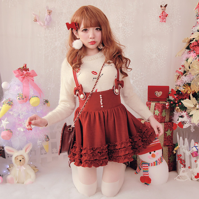 Princess sweet lolita dress BOBON21 3 layer cake exclusive agaric pearl wool knitted suspenders dress B1151