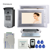 Free Shipping Wired 7″ Color Video Door Phone Intercom + Outdoor RFID Access Door Camera + 2 Monitor + 180kg EM Lock In Stock