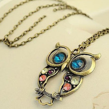 2017 Hot Women Sweater Coat Necklace Crystal Big Blue Eyed Owl Long Chain Pendant Necklace Women Jewelry Accessory Wholesale
