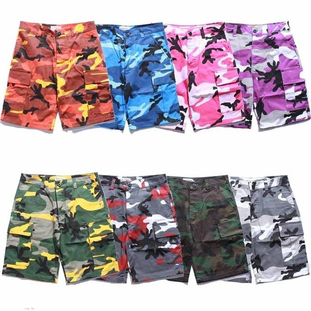 2018 Summer Fashion Men Cargo Camouflage Shorts Camo Hip Hop Streetwear  Pink Purple Yellow Orange Blue White Snow 262507f79718