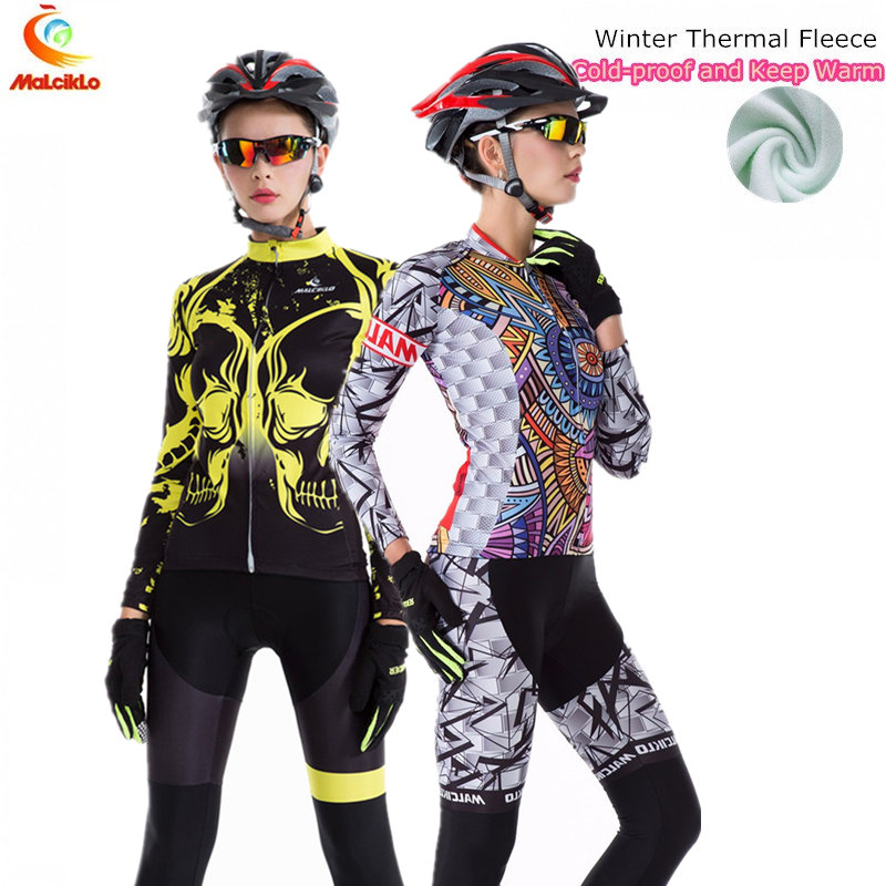 2017 New arrival Malcilko Winter Cycling Clothing Thermal Fleece Cycling Jersey Long Ropa Ciclismo Hombre Bike Cycling Clothes