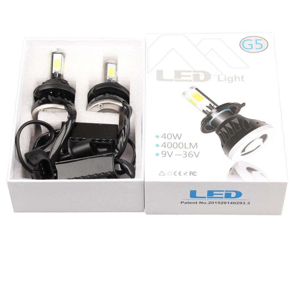 2Pcs Automobiles External Lights 80W 8000LM 6000K G5 Car H4 LED 6000K 360 Degree Front Headlight Light Source Bulbs Kit 2017