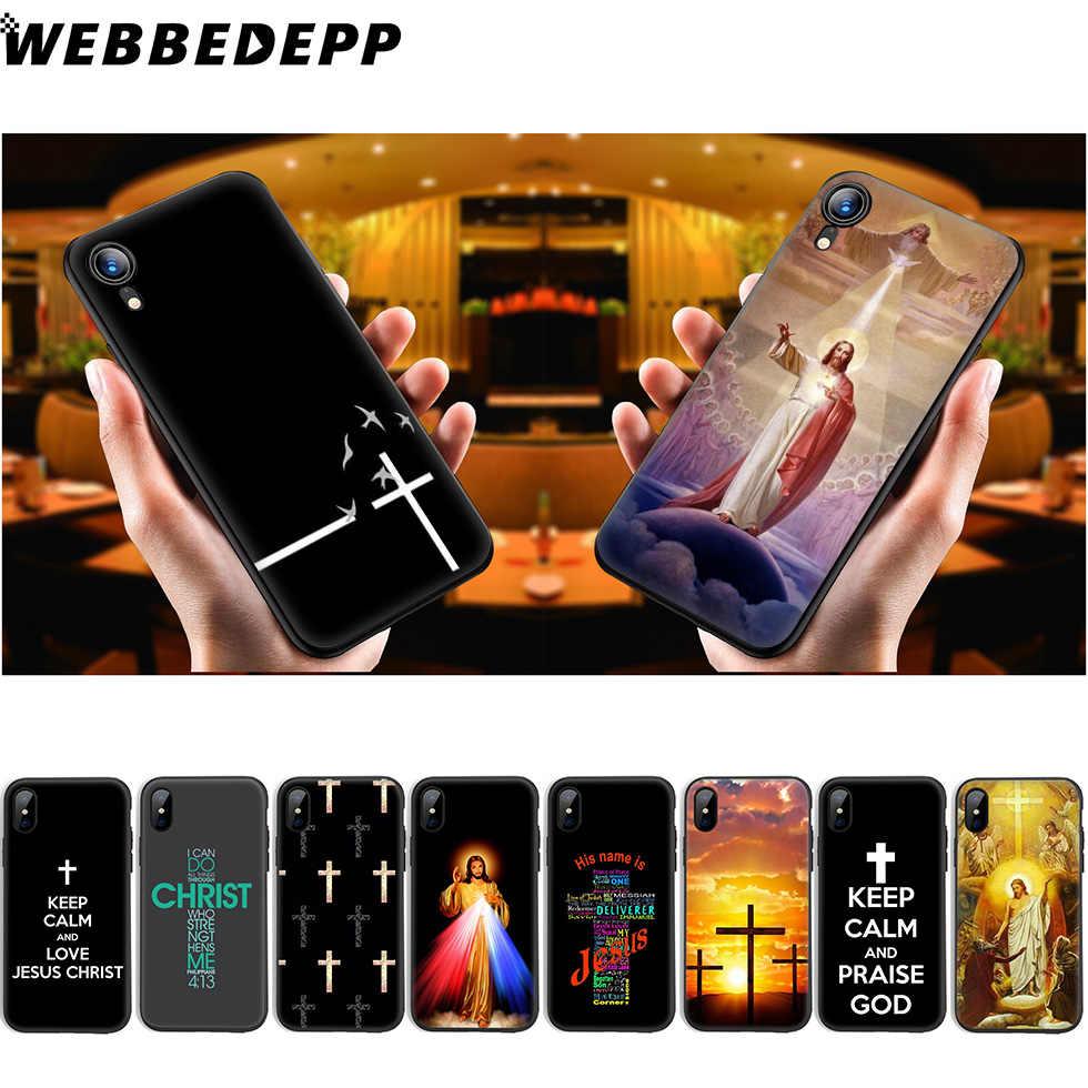 WEBBEDEPP คริสเตียนพระเยซูข้ามนุ่มซิลิโคนสำหรับ iPhone 11 Pro Xr Xs Max X หรือ 10 8 7 6 6S Plus 5 5S SE Case 8 Plus