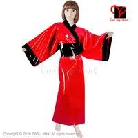 Сексуальный латекс кимоно Оби группа Для ванной Халат резиновая халат Для ванной Халат японский пижамы ремень пижамы Большие размеры XXXL