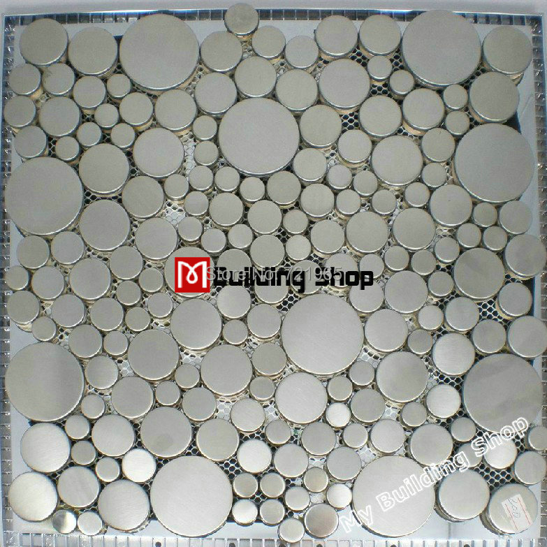 Brushed Silver Metal Mosaic Smmt024 Penny Round Metallic Stainless Steel Wall Tile Bubble Tiles Backsplash On Aliexpress Alibaba Group